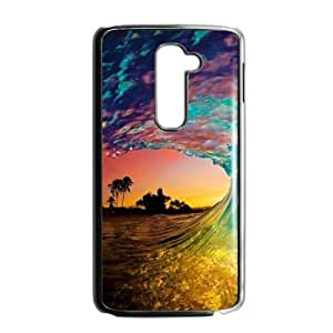 Canting_Good Colorful Beach Waves Custom Case Shell Skin for LG G2