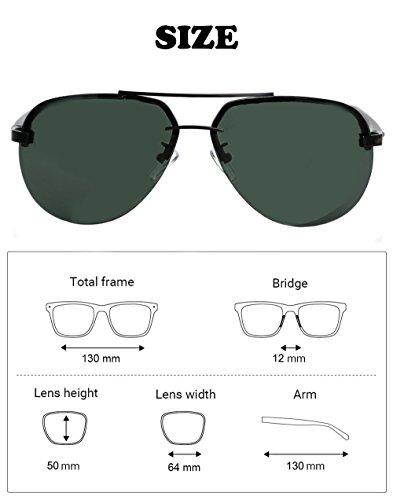 Aluminium Co Lens G15 64mm Polarized pour G15 homme de Lunettes amp; soleil Aviator ; vert Temple Natwve v7wzqT5xq