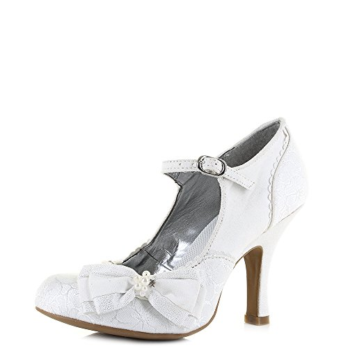 Brocade Pumps - Ruby Shoo Women's White Silver Brocade Maria Mary Jane Pumps UK 7 EU 40