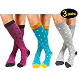 Compression Socks 3 Pairs For Women Men 20-25mmHg-Best Medical, Nursing, Travel & Flight Socks - Running & Fitness Compression Stockings (S/M, Dot Family)