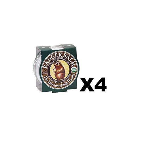 Tin Large 2 Ounce - Badger Balm 2oz Tin Organic Healing Hand Moisturizer Cracked Dry Skin (4-Pack)