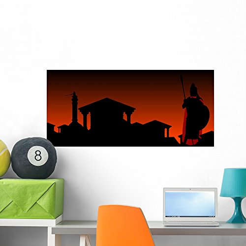 Wallmonkeys Ancient City With Guardian Wall Mural Peel And Stick Graphic  36 In W X 22 In H  Wm360598