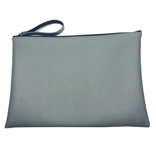 Perfectos Zipper Underarm Briefcase Portfolio Bag (11 x 8.5 Inch, Grey) - Underarm Leather Briefcase