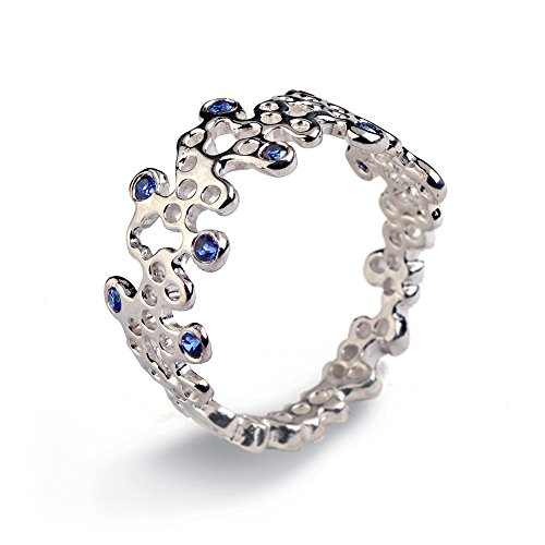 14k White Gold Natural Genuine Blue Sapphire Gemstones Organic Statement Lace Ring, Size 4 to 10