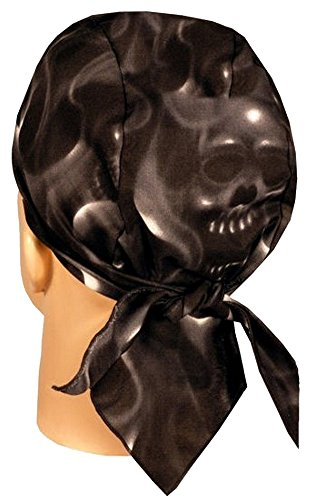 Skull Cap Biker Caps Headwraps Doo Rags - Ghost Skulls on Black (Beanie Earth)
