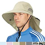 SUN CUBE Premium Outdoor Sun Hat for Men, Women Sun Protection Hat for Hiking, Fishing, Safari | Wide Brim Cap with Neck Flap and Adjustable Chin Cord, UPF 50+ | Foldable, Breathable (Tan)