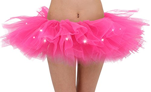 Adult's LED Light Up 5 Layered Tulle Tutu Mini Skirt, Rose