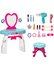 Qaba 33 Pcs Princess Pretend Play Glamour Makeup Set Kids Vanity Dressing Table Realistic w/ Stool for 3 Years Old Lake Blue+White