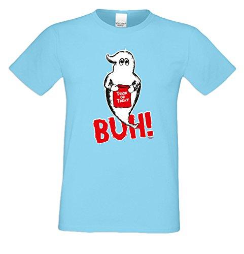 Halloween T-Shirt - Gespenst Trick or Treat Geist Shirt hellblau - gruseliges Motiv Shirt für Leute mit Humor