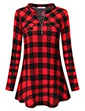 Diphi LiLi Womens Casual Long Sleeve Tartan Blouse Zip up Plaid Tunic Shirt (Red and Black, X-Large)