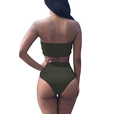 Pink Queen Women's Removable Strap Wrap Pad Cheeky High Waist Bikini Set Swimsuit: Clothing