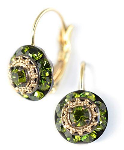 Clara Beau Elegant Green Olive Medium Rhondel swarovski crystal LeverBack earrings E149 GoldTone - Olive