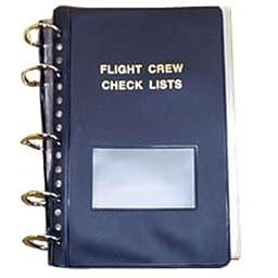 Flight Crew Checklist Binder - 6 Fasteners, 55 Sheet Protectors, Blue