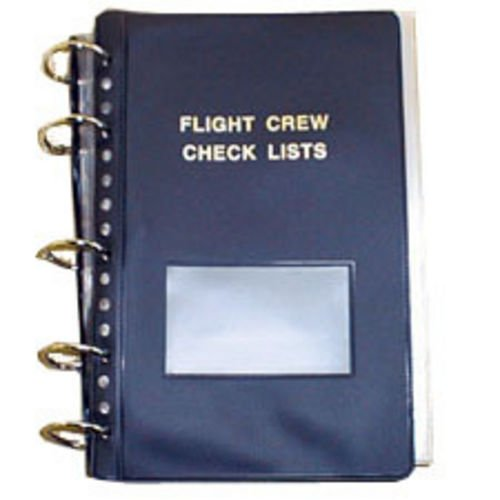 Flight Crew Checklist Binder - 6 Fasteners, 55 Sheet Protectors, Blue