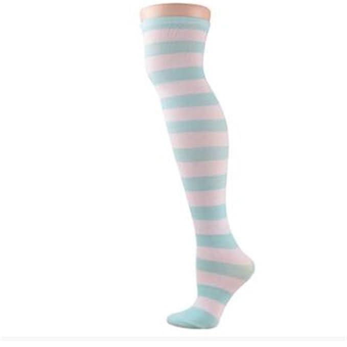 Pirate Muslo muslo rodilla calcetines calcetines calcetines calcetines calcetines de rayas de color azul y rayas blancas,1,un tamaño,: Amazon.es: Ropa y ...