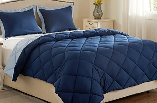 downluxe Lightweight Solid Comforter Set (Queen) with 2 Pillow Shams - 3-Piece Set - Blue and Sapphire - Hypoallergenic Down Alternative Reversible Comforter