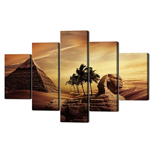 Art On You Face Painting - Ancient Egypt Mystery Extra Large Painting on Canvas Wall Art Modern Pyramid Secrets Sphinx Home Decor Post and prints for living room Pictures 5 Panel HD printed Framed Ready to Hang(60''Wx40''H)