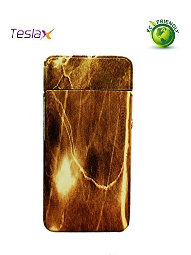 TeslaX Electric Dual Arc Wood and Marble Tesla USB Rechargeable Custom Engraved Cigarette Camping Hiking Flameless E-Lighter Cigar Souvenir Lighter (Brown Marble) (Marble Cigarettes)