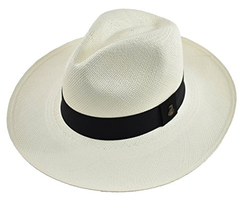 Original Panama Hat - Wide Brim Classic Fedora - Toquilla Straw - Handmade in Ecuador (Medium | 56cm - 57cm, White)