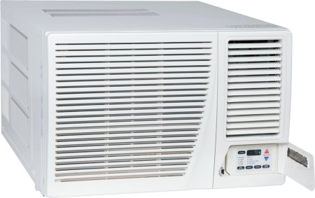 Amana AE123G35AX Window Air Conditioner with 11600 BTU Cool 10700 BTU Electric Heat Electronic Controls with LED Display Hand Held IR Remote Control Wall Sleeve and Window Mount