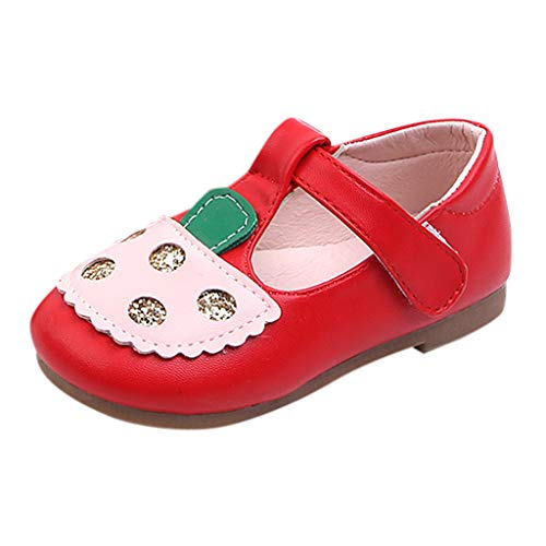 Baby Mary Jane BOLLH Infant Boy Girl Elegant Leather Single Shoe Toddler Non-Slip Casual Princess Sandals Red