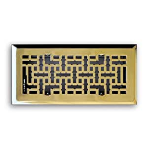Truaire C167-MPB 04X10 Decorative Floor Grille 4-Inch by 10-Inch Modern Contempo Floor Diffuser, Polished Brass Finish