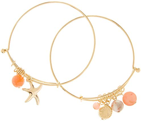 Bay Studio 2-pc. Gold Tone Sea Life Bangle Bracelet Set One Size Gold Tone/Coral