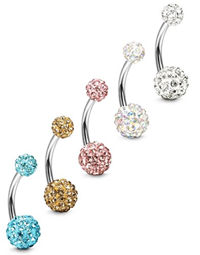 FIBO STEEL 5 Pcs 14G Stainless Steel Belly Button Rings Navel Barbell Body Jewelry Piercing RG ()