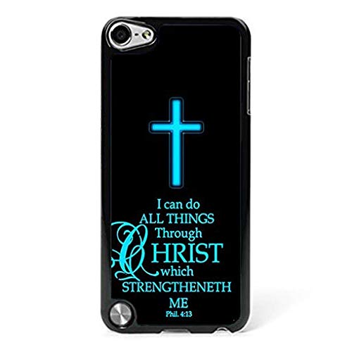 Compatible with iPod Touch 5th 6th Case Christian Bible Religious Verse Cross Philippians 4:13 Compatible iPod Touch 5th 6th Phone Case Hard Protective Shell Cover