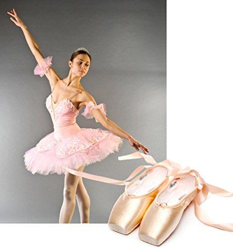 LINNUO Pointe Zapatos de Ballet Pointe Ballet Zapatillas de Ballet de Danza Baile con Cintas Como imagen 1