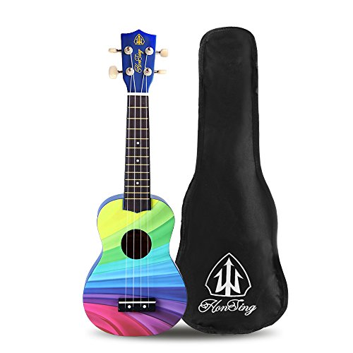 Honsing Soprano Ukulele Beginner Hawaii kids Guitar Uke Basswood 21 inches with Gig Bag- Rainbow Stripes Color matte finish - Image 1