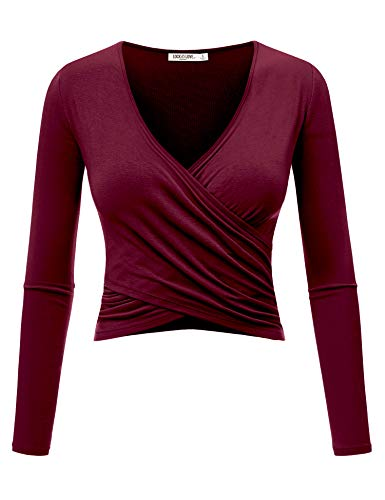 WT1482 Womens Deep V Neck Long Sleeve Cross Wrap Fitted Crop Top XXL Wine