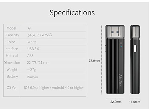 USB 3.0 Wireless Flash Drive, Universal Wireless Storage Stick for iPhone, iPad, Android Smartphone, Windows Phone, Tablet and Desktop(256GB) by airdisk® (Image #8)