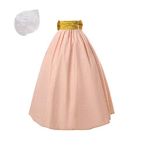 NSPSTT Women Pioneer Colonial Skirt Girls Peasant Prairie Skirt Civil War Trek Floral Costume Pink]()