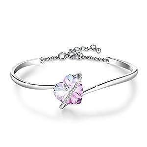 GEORGE · SMITH ❤️Histoire d'amour Bracelet Coeur Bracelet Plaqué Argent Femme avec Cristal Bleu Rose, Cadeau…