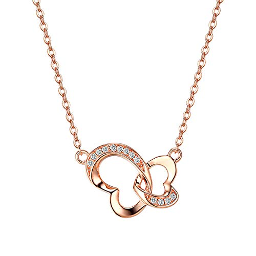 (VANA JEWELRY Sterling Silver Heart Necklaces for Women Diamond Cubic Zirconium(CZ) Double Love Open Heart Gold Plated Jewelry 925 Fashion for Her Mother's Day w/Box)