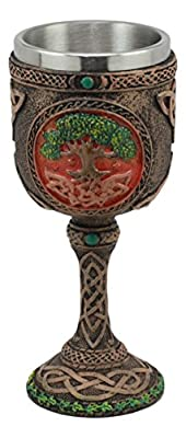 Ebros Celtic Knotwork Cosmic Sacred Tree of Life Wine Goblet 5oz Vial Of Fertility And Immortality Wine Chalice Figurine