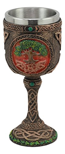 Ebros Celtic Knotwork Cosmic Sacred Tree of Life Wine Goblet 5oz Vial Of Fertility And Immortality Wine Chalice Figurine by Ebros Gift (Image #1)