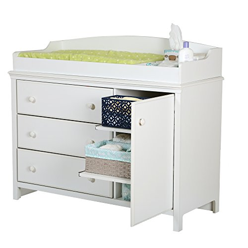 South Shore Furniture, Cotton Candy Collection, Changing Table with 2 Pull-Out Shelves, Pure White by South Shore