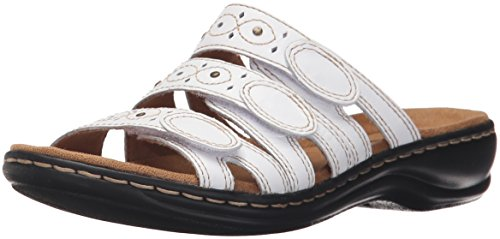 CLARKS Women's Leisa Cacti Slide Sandal White Leather 7 M US