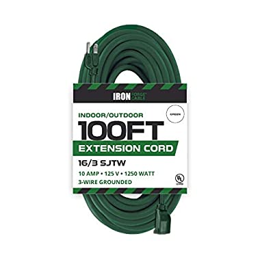 Iron Forge Cable 100 Ft Outdoor Extension Cord - 16/3 Durable Green Cable