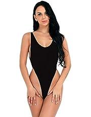 Aihui^ Women's Scoop Neck Bodysuits One Piece Lingerie Sleeveless Strap Bodycon Cami Backless Jumpsuit Sleepwear