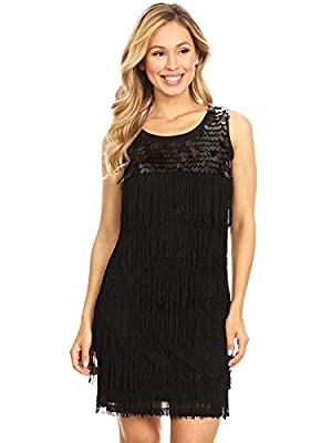 Anna-Kaci Womens Sequin Fringed Sleeveless Solid Color 1920s Flapper Party Dress