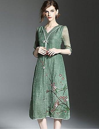 d0f8b6b8157b Amazon.com   GAOLIM Women Plus Size Loose Dress Print V Neck ...