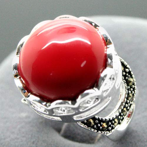 16mm 925 Silver Red Coral Bali Handcrafted Ring Size 7/8/9/10 ()