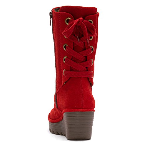Fly London Dames Yada Boots Rood Oil Suede