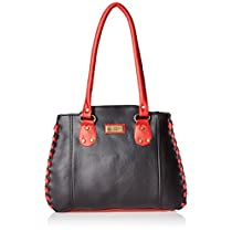 Fantosy Womens Handbag Black and Red FNB285