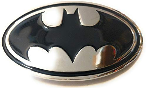 BATMAN Classic Silver tone/chrome Black belt buckle Dark Knight DC comics 4 inch SuperGifts