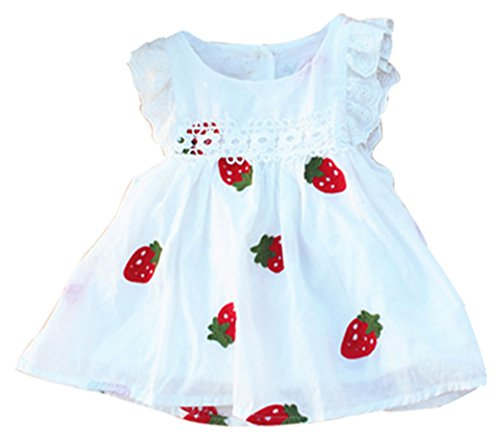 - JiaYou Infant Baby Girl Round Neck Sleeveless Stripes Dress(Strawberry,6M)