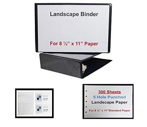 (Landscape Binder 2 Inch Black Vinyl with 300 Sheets of 5 Hole Punched Paper and 2 Business Card Holders )